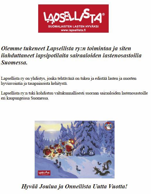 Joululahjoitus on kohdistettu Lapsellista ry:lle